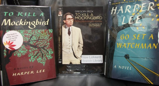 To Kill a Mockingbird book and movie cover, and Go Set a Watchman book