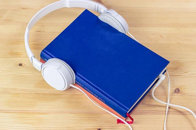 Book wearing headphones