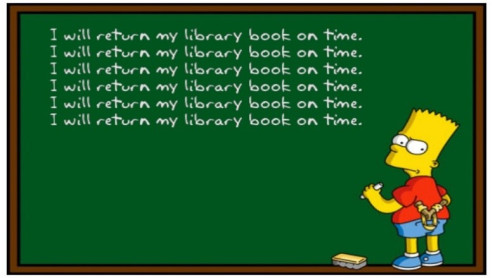 I will return my library books on time written on a black board